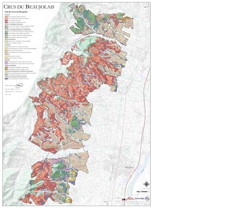 Mapa com os Crus de Beaujolais