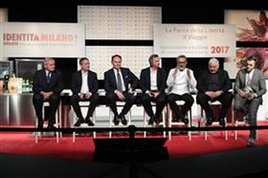 Maurizio Saccani, Marco Reitano, Matteo Lunelli, William Drew, Massimo Bottura, Umberto Bombana and Søren Ledet