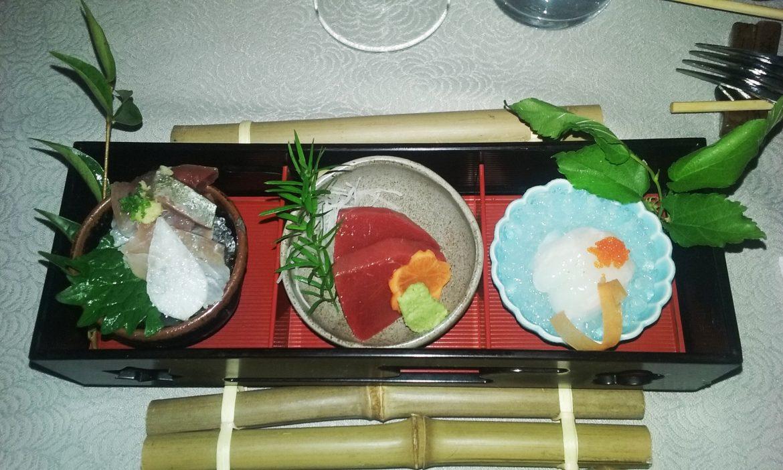 Sashimi de Toro de Bluefin, Carapau e Garoupa.